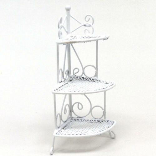White Wire Flower Stand 3 Tier 1:12  Doll House Furniture