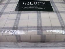 New Ralph Lauren 100% Cotton 4pc Cream Ivory Gray Plaid Checked Sheet Set- Queen