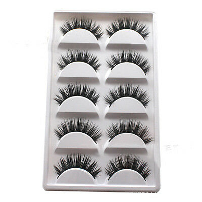 5 Pairs Luxurious 3D False Eyelashes Cross Natural Long Eye Lashes Makeup