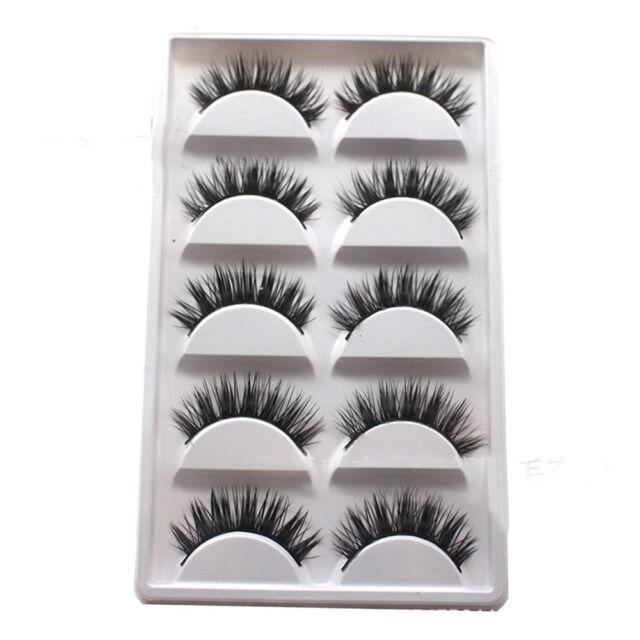 5 Pairs Luxurious 3D False Eyelashes Cross Natural Long Eye Lashes Makeup Fast