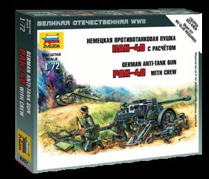 Zvezda 6257-1//72 Wargame Addon Deutsche Pak-40 Mit Besatzung Neu