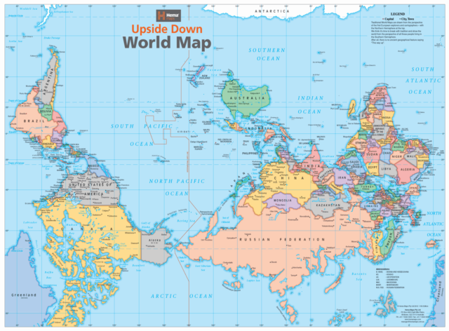 Upside Down World Map 840 x 594mm Laminated Wall Map