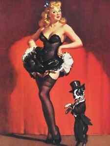 find lowest price 50% off hot-selling genuine Details about ELVGREN LARG CANVAS BURLESQUE SALE! CORSET STOCKINGS PIN-UP  BOSTON TERRIER PINUP