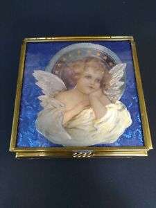 Vintage-ENESCO-Brass-Mirror-Blue-Glass-Trinket-Box-1993-Thomas-Cathey-Artwork