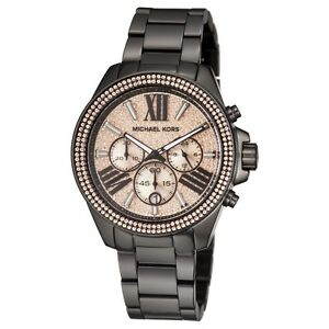 New michael kors wren black rose chronograph womens glitz stainless image is loading new michael kors wren black rose chronograph womens gumiabroncs Gallery