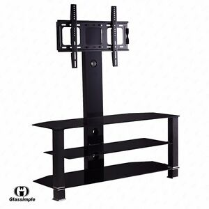 32 55 Tempered Glass Tv Stand Console Media With Bracket Plasma
