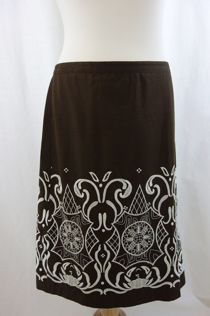 Ann Taylor LOFT Peasant Look Skirt Sz 8 Dk Brown w White Embroidery 100% Cot