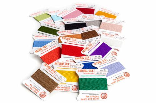 20 CD//BG #4 Griffin Natural Silk Bead Cord Size #0 #2 #6 Color Sampler