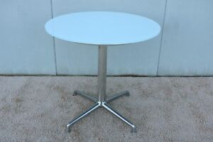 Coalesse SW Modern Round White Glass Top Dining Table - 30 conference table