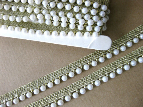 gold creme multi R17 Borte mit Perlen 14mm breit lfm weiß