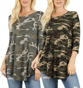 Round-Neck-3-4-Sleeve-CAMOUFLAGE-PRINT-Premium-Rayon-Top-S-XL