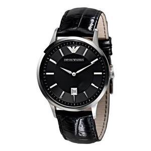 ARMANI-MENS-CLASSIC-WATCH-AR2411-BLACK-DIAL-LEATHER-STRAP-COA-RRP-159-00