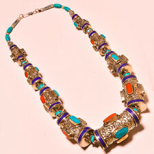 Turquoise With Red Coral & Lapis Lazuli Tibetan Silver Jewelry Necklace 18""