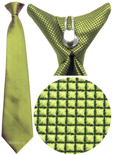 New 100/% Polyester Woven  Kids Clip On Pre Tied Style Neck tie green Size 14