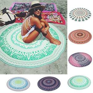 Women-Bikini-Cover-Up-Round-Mat-Shower-Towel-Table-Beach-Yoga-Tapestry-S2C3