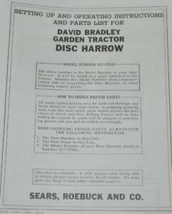 Details About Disk Harrow Sears Roebuck David Bradley Garden Tractor Owner S Manual 917 57547