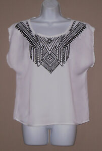 Womens-Size-Medium-Sleeveless-White-Embroidered-Casual-Summer-Blouse-Top-Shirt