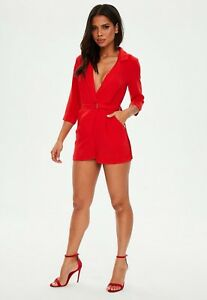 3a879606c3 Image is loading red-wrap-blazer-playsuit-size-6