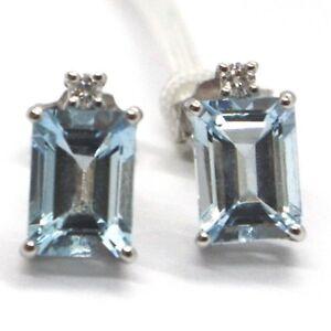 WHITE-GOLD-EARRINGS-750-18K-AQUAMARINE-CUT-EMERALD-DIAMONDS