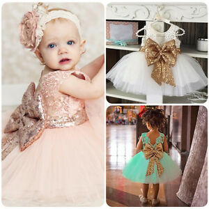 Toddler-Kid-Baby-Girl-Sequin-Bowknot-Tulle-Dress-Princess-Party-Wedding-Birthday