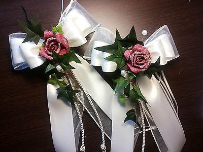 Deko Hochzeit Antennenschleifen Kirchenbankschleife weiß 2 Spiegelschleifen