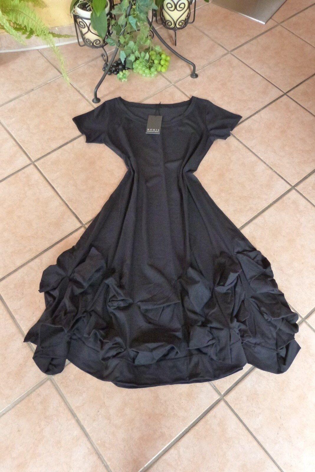 BORIS INDUSTRIES Ballon Kleid Volant 44 (3) NEU schwarz A-Form Baumw. LAGENLOOK