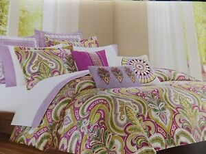 New Echo Design Vineyard Paisley Purple Green Twin Duvet Cover