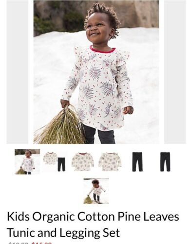 Burt's Bees Kids Girls' Organic Cotton Pine Leaves Tunic Top and Legging Set 6X
