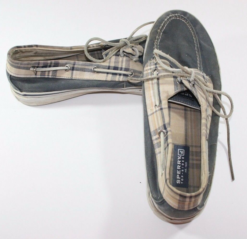 SPERRY TOP-SIDER EYELET BOATING SHOES SLIP ON LOAFER POOLSIDE SHOES BOATING 13m Plaid fa3f11