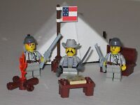 Lego Custom WESTERN AMERICAN CIVIL WAR CONFEDERATE BASECAMP w/ 3 Minifigs