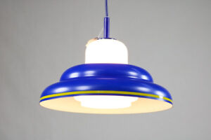 Doria-Pendel-Leuchte-Blau-Alu-Glas-Ufo-Lampe-Neuw-OVP-60er-70er-Jahre