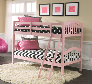Details about Bunk Beds for Girls Kids Wood Pink Twin Size Bedroom  Furniture Child Princess