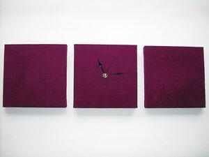 Color Prugna Per Pareti : Set of 3 modern art faux suede aubergine dark purple plum wall