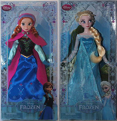 """Disney Store Exclusive Frozen's ELSA & ANNA 12"""" Dolls New in Boxes Older Style"""