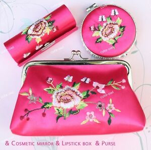 Wholesale Hot Pink Silk Brocade Cosmetic Bag Mirror
