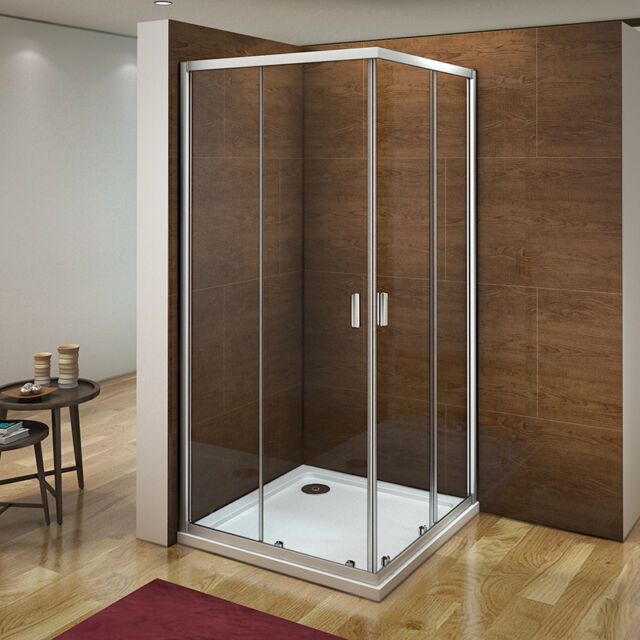 AICA 900x900 Corner Entry Shower Enclosure Walk In Sliding Glass Screen Cubicle