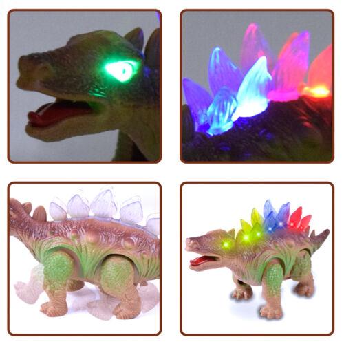 1 Electric Stegosaurus Walking Dinosaur Light Sound Toys Model For Kid Children
