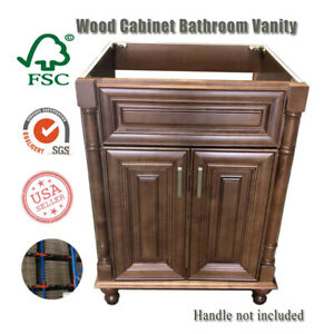 Details About Maple Walnut Single Bathroom Vanity Base Cabinet 24 W X 21 D X 32 H Right