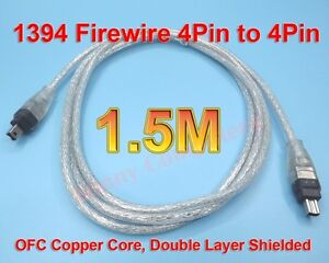 Premium-Copper-Core-FireWire-1394-4P-Male-Cable-IEEE1394-4-pin-4Pin-M-M-Cord-AU