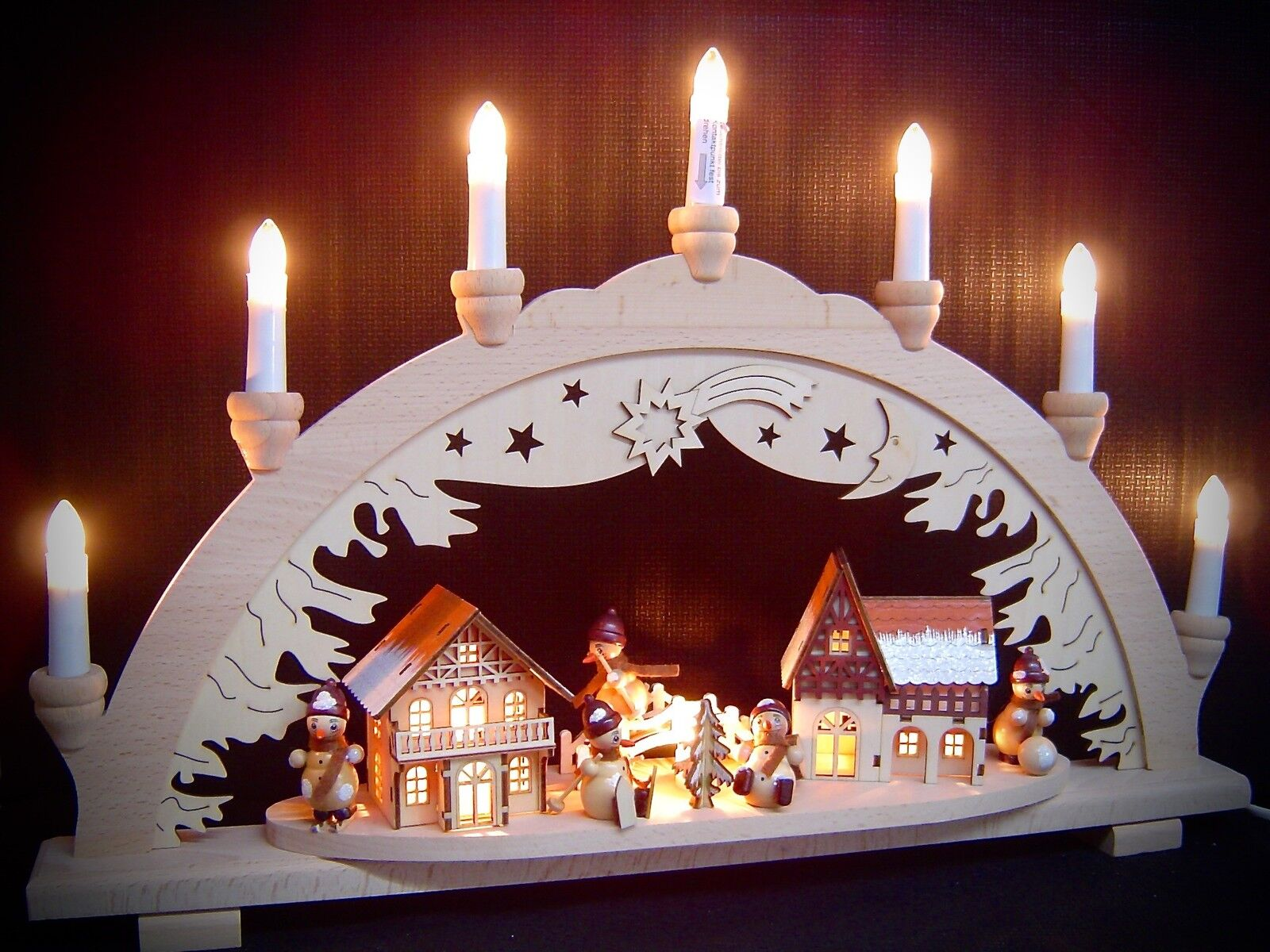 Light Arch 3D Snowman City 5 Figures 57x38 cm 10 Lights 10171