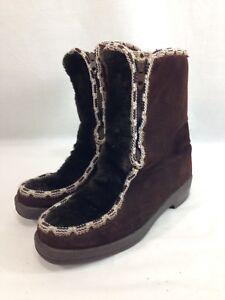 Unbranded in pelliccia 6 in doppia foderata Boots scamosciata zip marrone sintetica con Vtg pelle Sherpa Donna gOqndxd7w