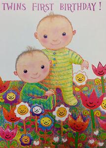 twins first birthday card 1st birthday card twins cute design