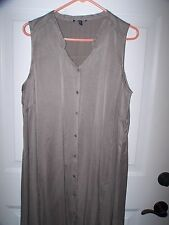 EILEEN FISHER 100% SILK BUTTON FRONT SLEEVELESS SHEATH DRESS. SZ L.