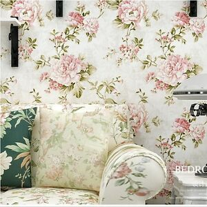 Vintage Cream/Pink Roses Flower Gold Wallpaper Roll home wall decor ...