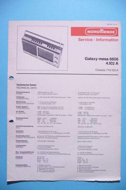 Instrucciones Manual de Servicio para Nordmende Galaxy Mesa 6606/4.102
