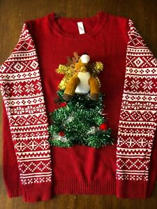 No-Boundaries-Ugly-Christmas-Sweater-Red-Reindeer-Christmas-Tree-Tinsel-Bell-XXL