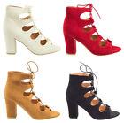 Womens Ladies Block Stacked Heels Laceup Corset Heel PeepToe Party Suede Shoe UK