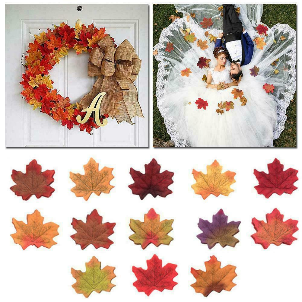 100xMulti-Color Silk Maple Leaf Leaves Autumn Fall Leaves Wedding Party Confetti