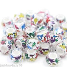 20pcs 14mm Multicolor Mix Acrylic  Charm Big Hole Bead fit European Bracelet