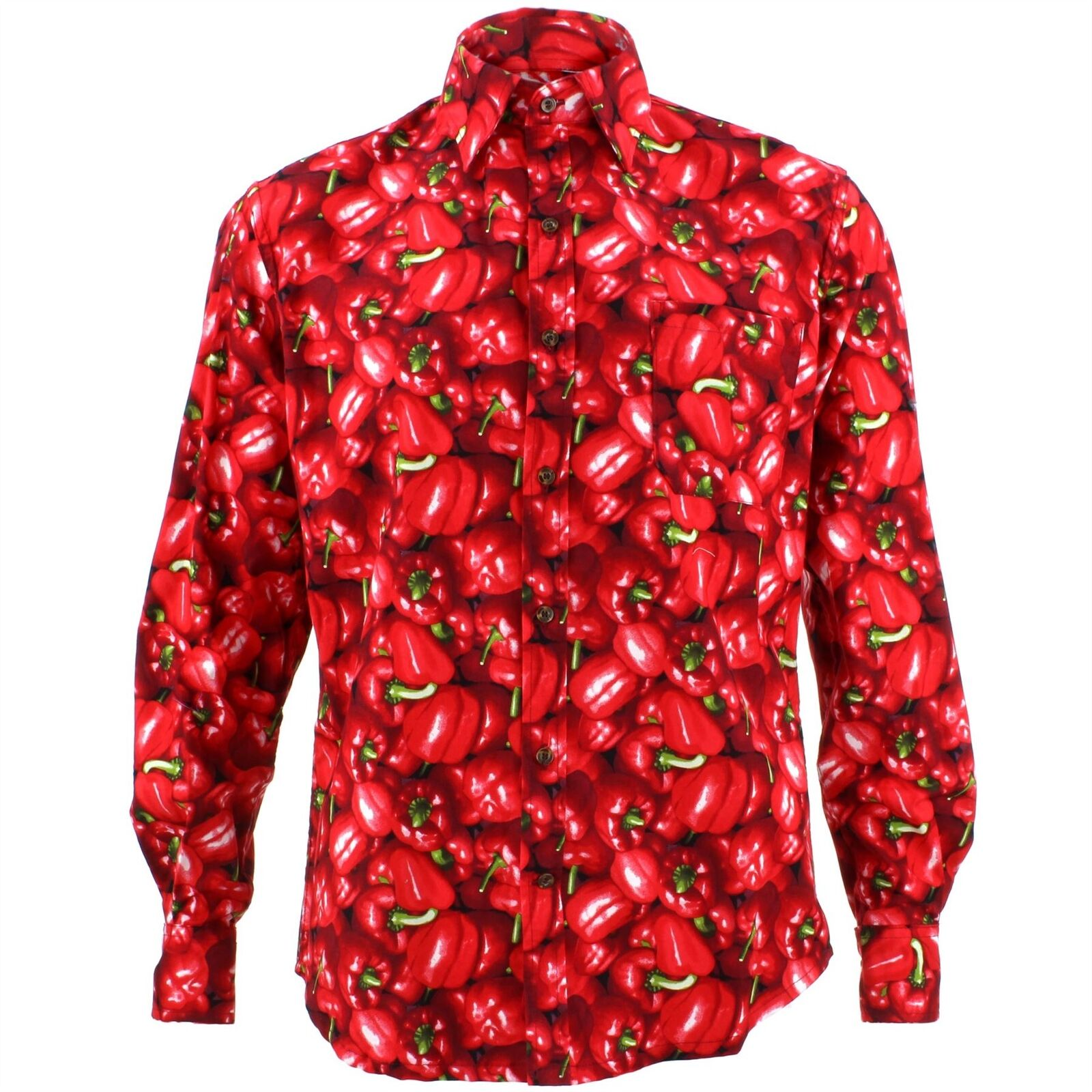 Men's Loud Shirt Retro Psychedelic Funky Party TAILORED FIT Red Peppers Capsicum